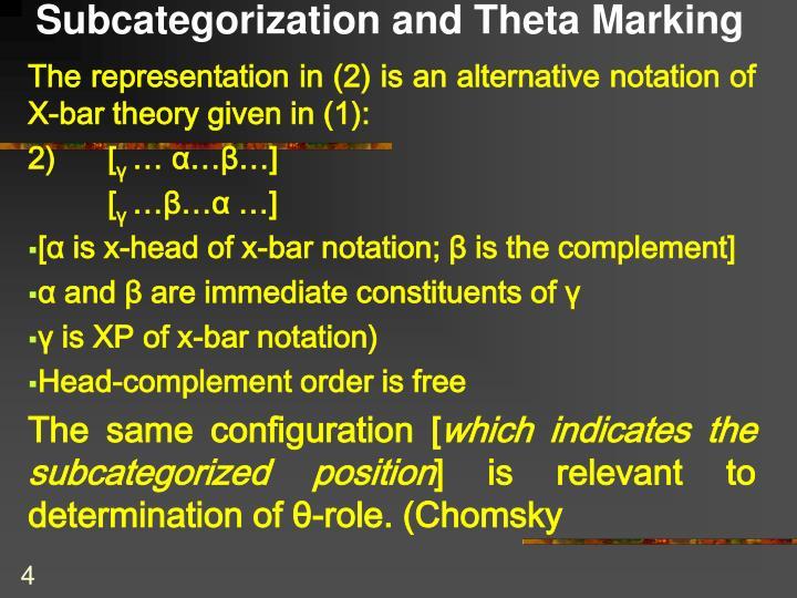 Subcategorization and Theta Marking