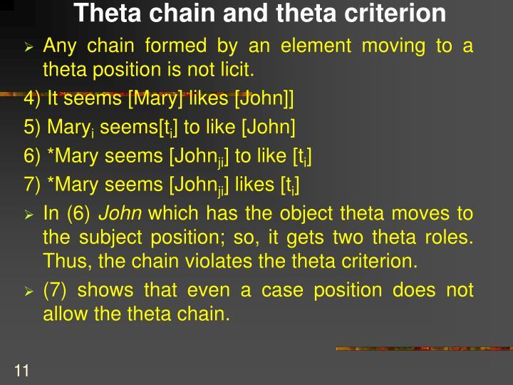 Theta chain and theta criterion