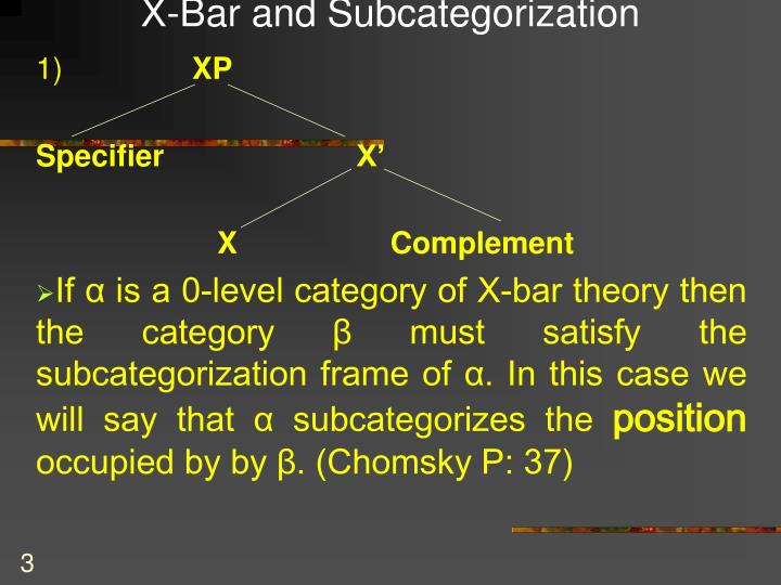 X bar and subcategorization