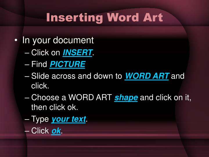 Inserting Word Art