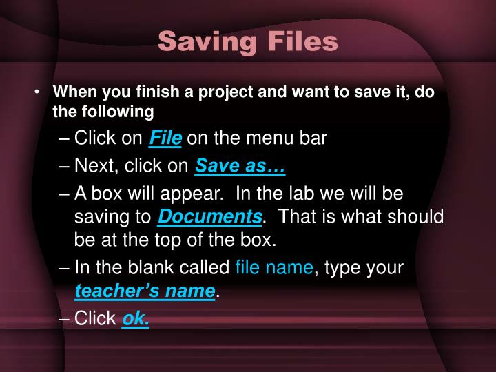 Saving files