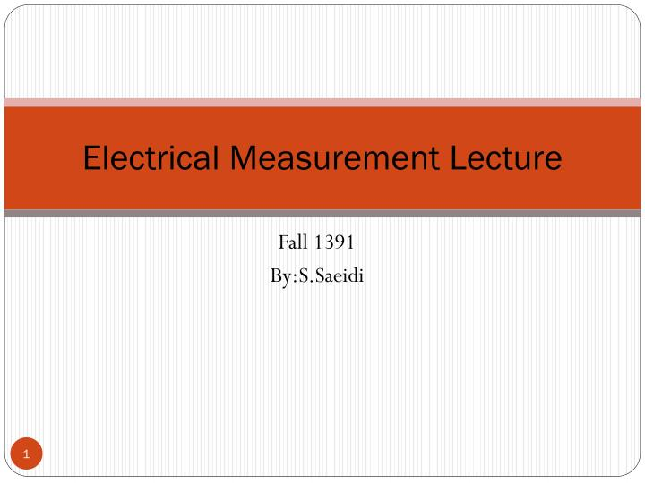 electrical measurement lecture n.