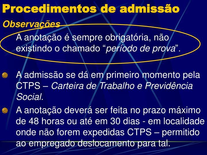 Procedimentos de admissão