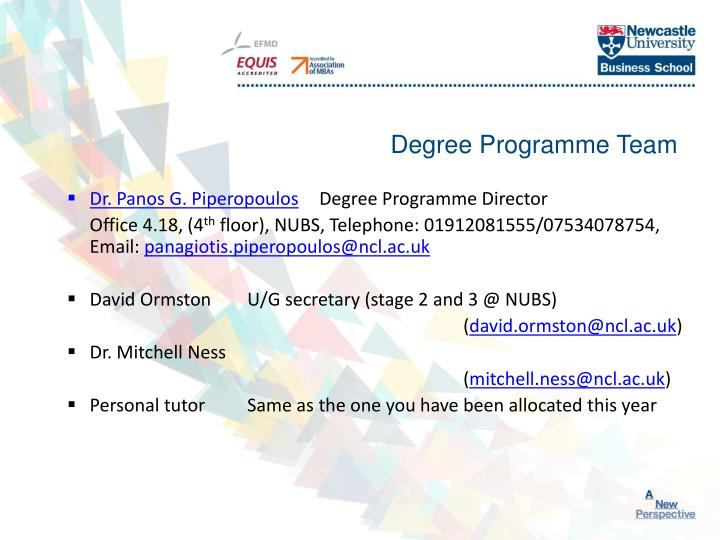 Degree programme team