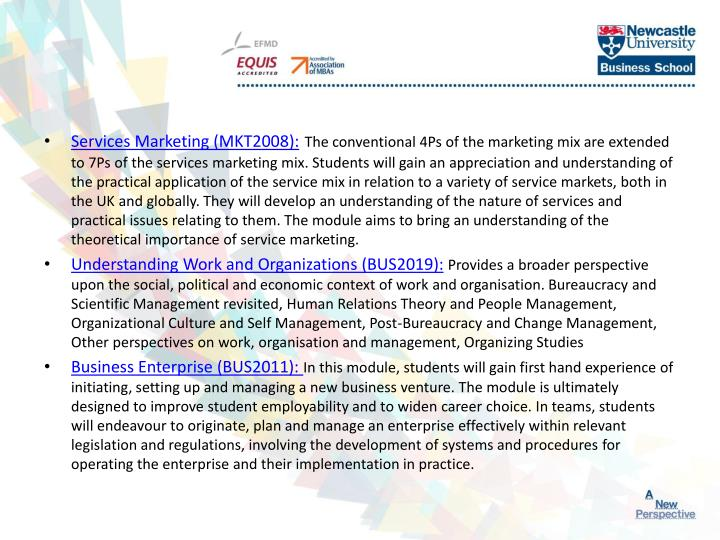 Services Marketing (MKT2008):