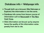 database info webpage info