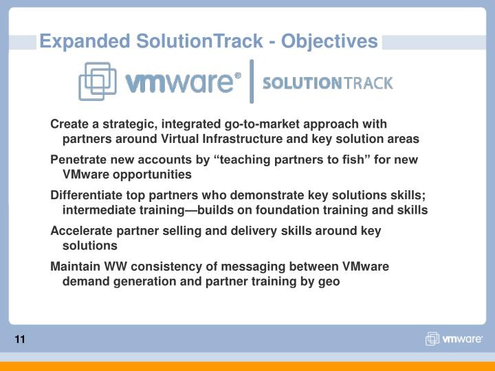 Expanded SolutionTrack - Objectives