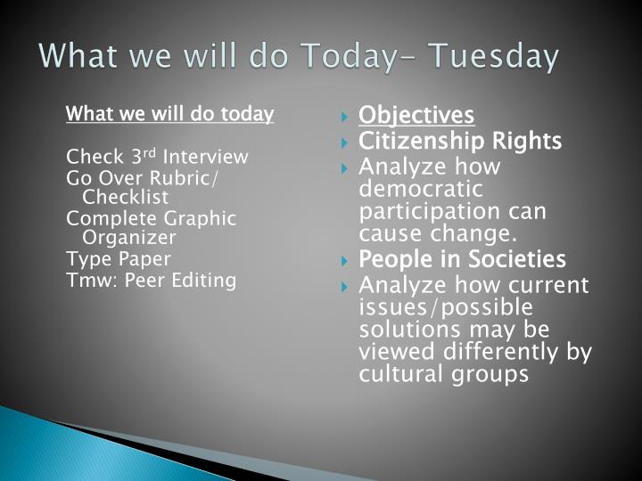 What we will do t oday tuesday