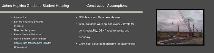 Construction Assumptions