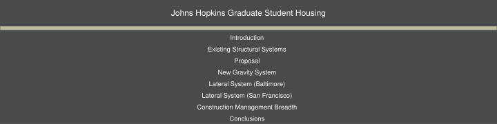 Johns Hopkins Graduate Student Housing