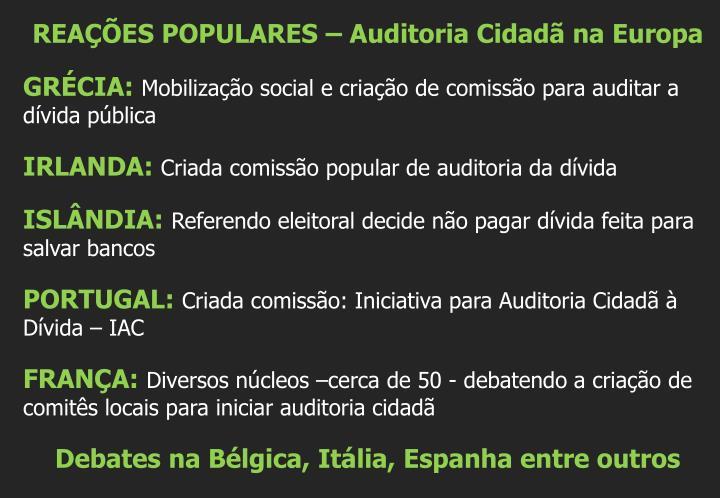 REAÇÕES POPULARES