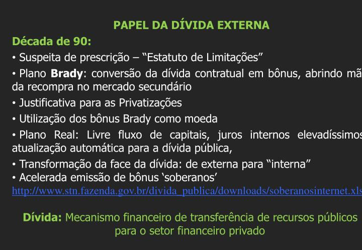 PAPEL DA DÍVIDA EXTERNA