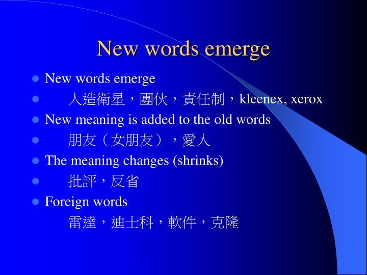 New words emerge