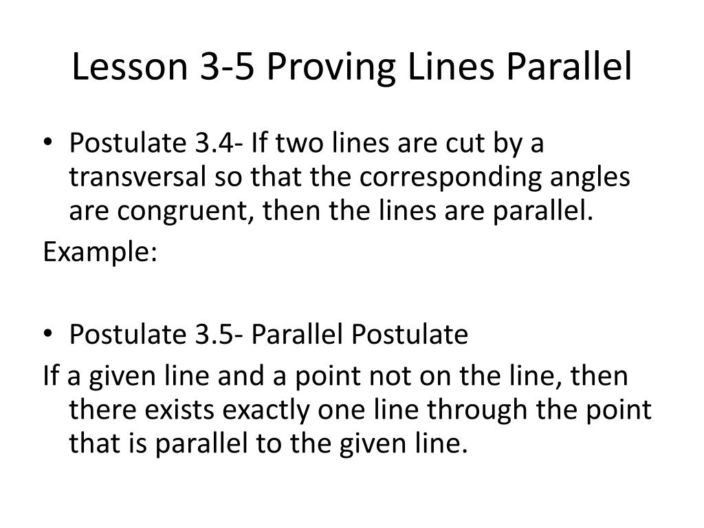 Ppt Lesson 3 5 Proving Lines Parallel Powerpoint Presentation Id