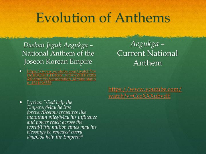 Evolution of Anthems