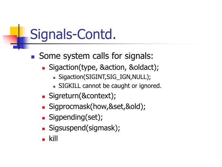 Signals-Contd.