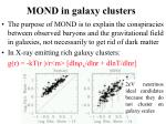 mond in galaxy clusters