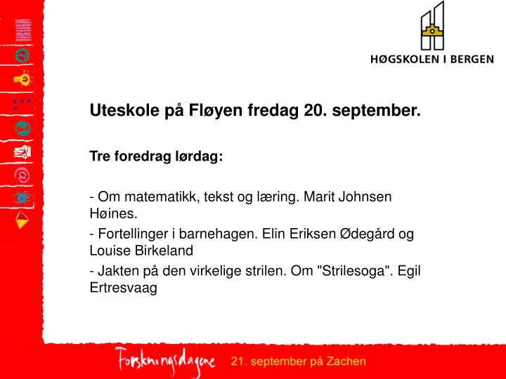 Uteskole på Fløyen fredag 20. september.