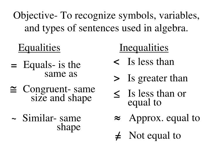 Ppt Objective To Recognize Symbols Variables And Types Of
