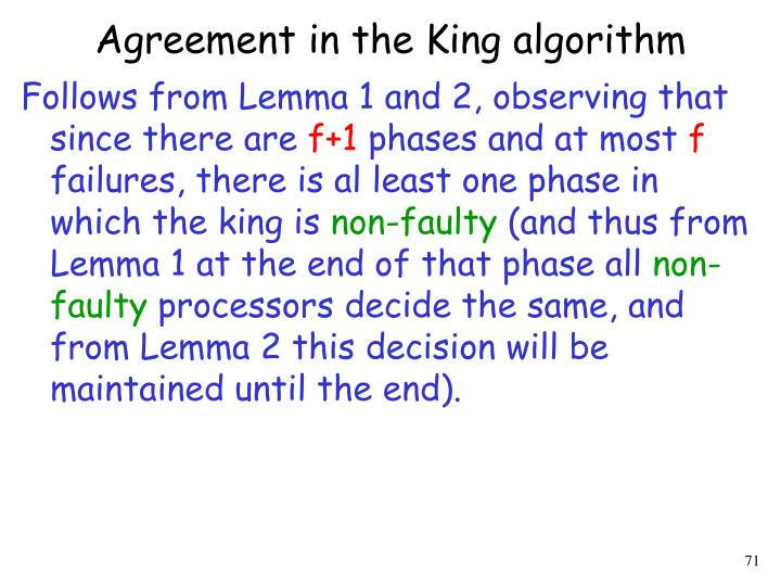 Agreement in the King algorithm