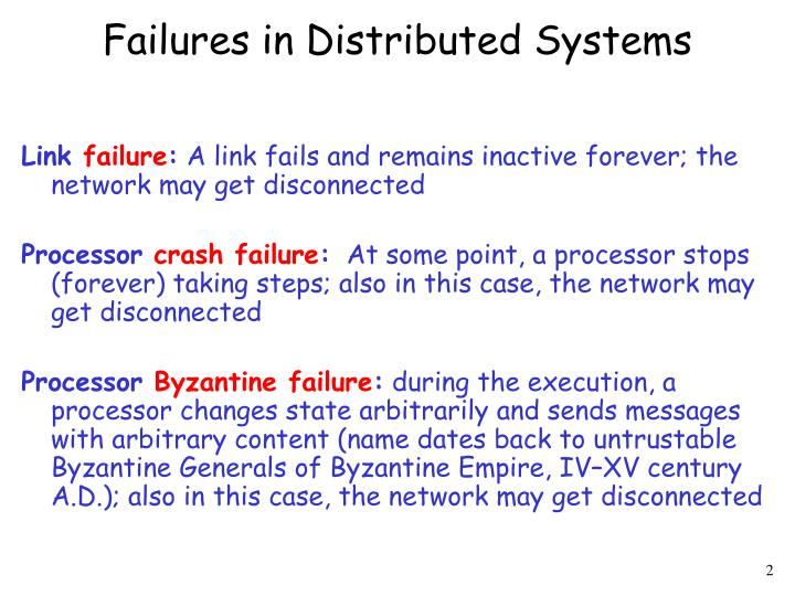 Failures in distributed systems