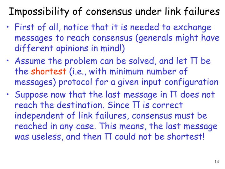 Impossibility of consensus under link failures