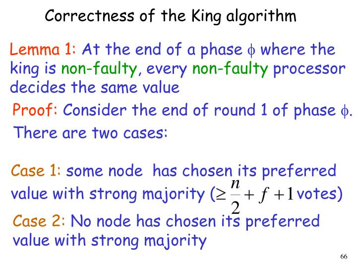 Correctness of the King algorithm