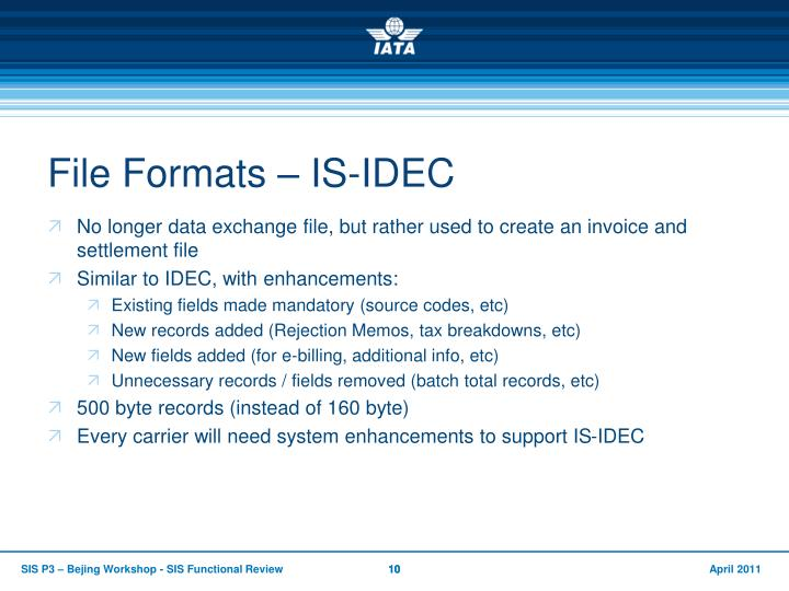 File Formats – IS-IDEC