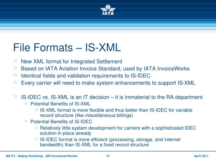 File Formats – IS-XML