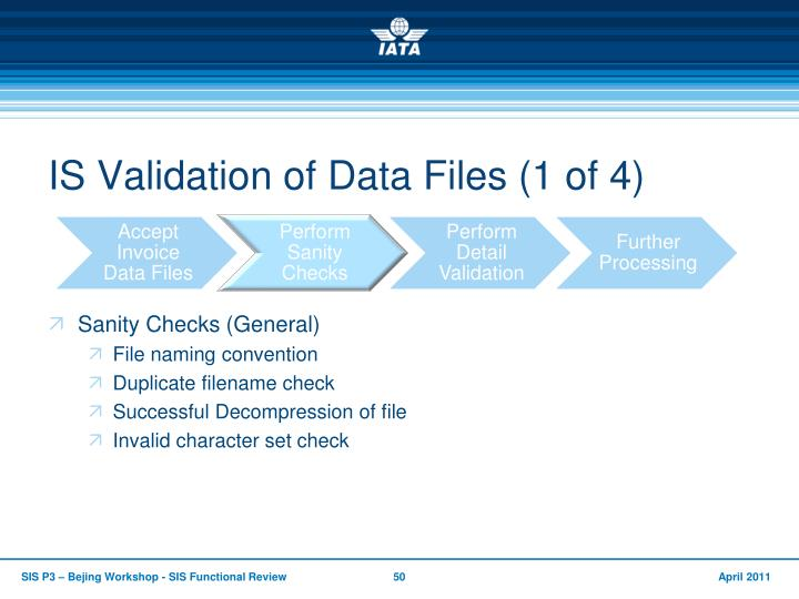 IS Validation of Data Files (1 of 4)