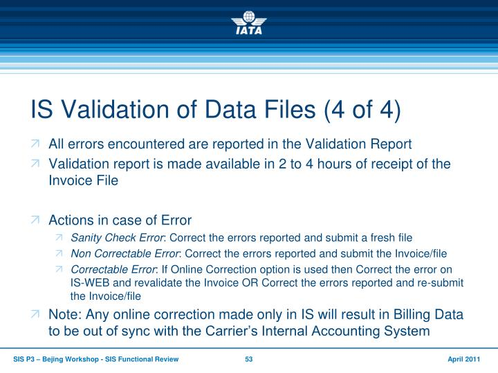 IS Validation of Data Files (4 of 4)
