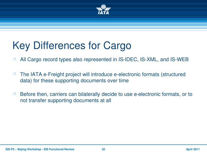 Key Differences for Cargo