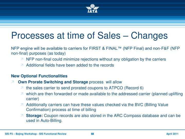 Processes at time of Sales – Changes