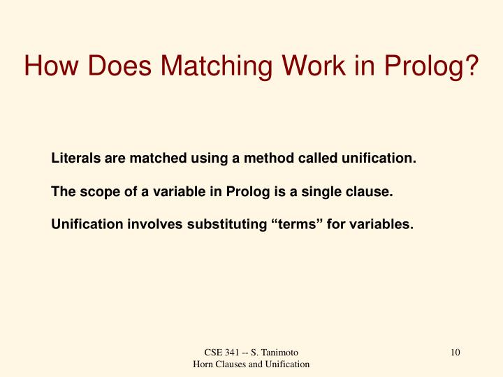 How Does Matching Work in Prolog?