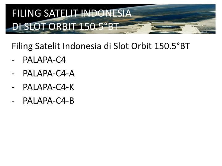 FILING SATELIT INDONESIA DI SLOT ORBIT 150.5°BT