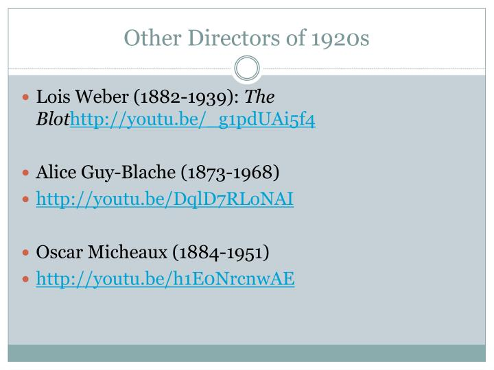 Other Directors of 1920s