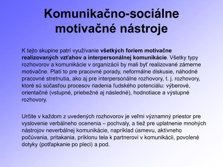 Komunikačno-sociálne motivačné nástroje