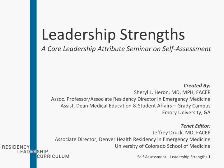Ppt  Leadership Strengths A Core Leadership Attribute Seminar On