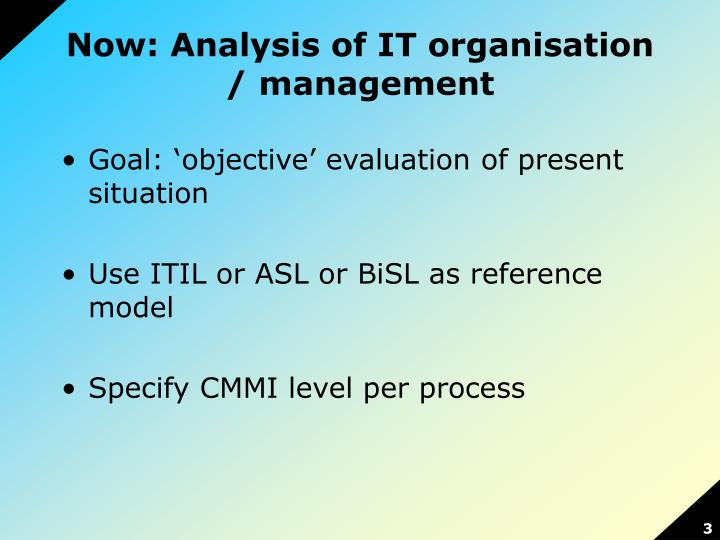 Now analysis of it organisation management