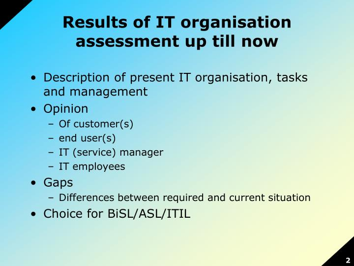 Results of it organisation assessment up till now