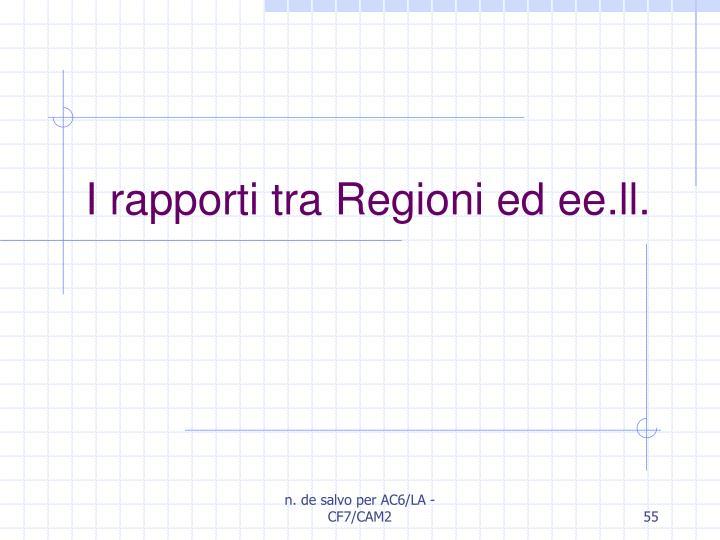 I rapporti tra Regioni ed ee.ll.