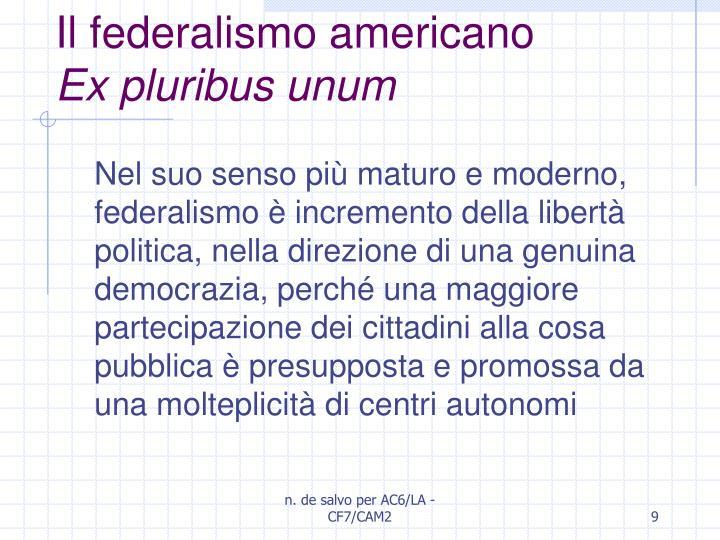 Il federalismo americano