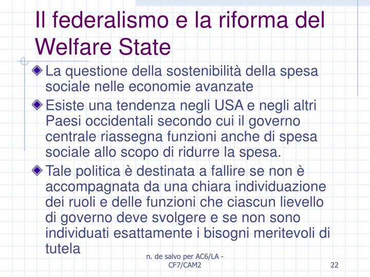 Il federalismo e la riforma del Welfare State