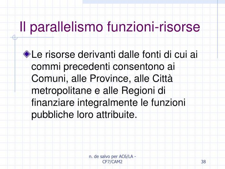 Il parallelismo funzioni-risorse