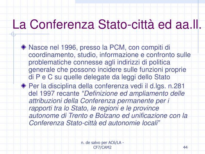 La Conferenza Stato-città ed aa.ll.
