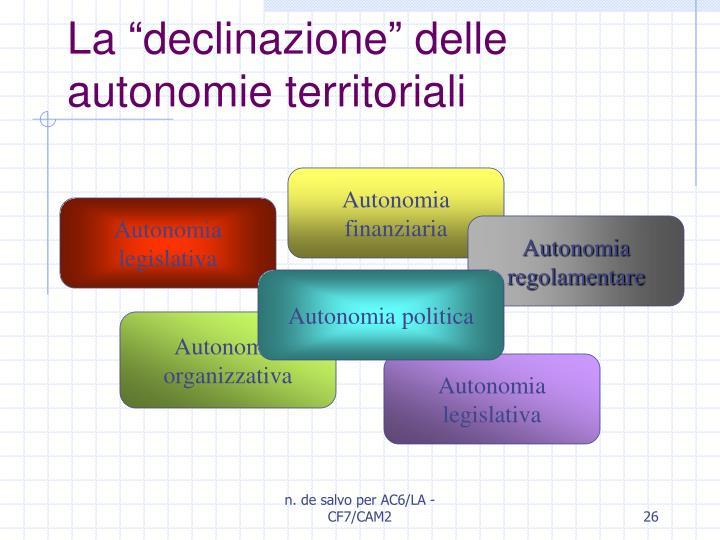 """La """"declinazione"""" delle autonomie territoriali"""