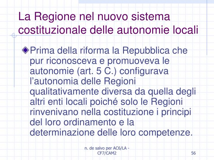 La Regione nel nuovo sistema costituzionale delle autonomie locali