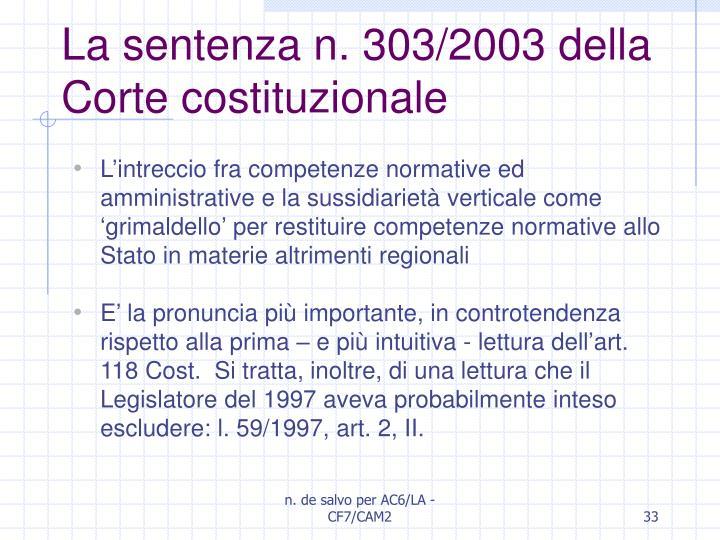 La sentenza n. 303/2003 della Corte costituzionale
