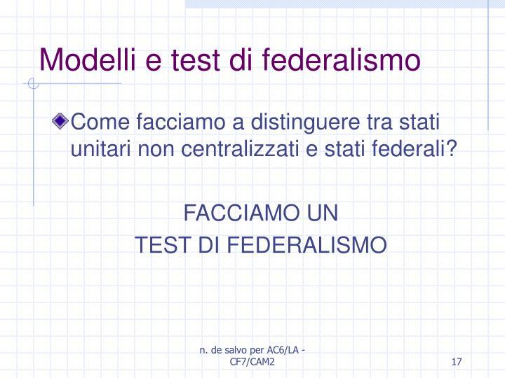 Modelli e test di federalismo