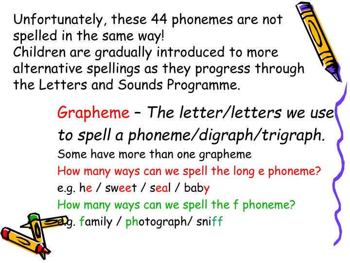 Unfortunately, these 44 phonemes are not